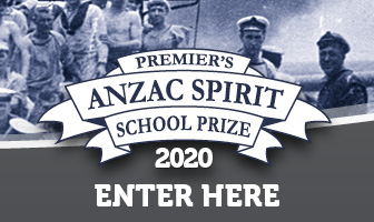 ANZAC soldiers behind a banner that says Premier's ANZAC Spirit School Prize 2020 enter here'.